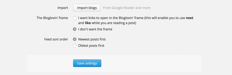 Bloglovin' Settings Frame