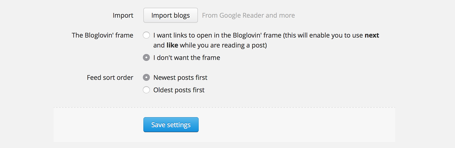 Bloglovin' Settings Frame